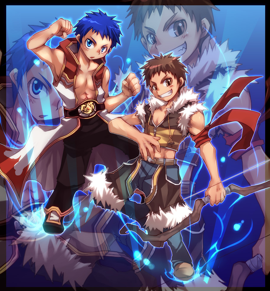 2boys armband bangs black_pants blue_eyes blue_hair blush bow_(weapon) brown_eyes brown_footwear brown_hair brown_shirt brown_shorts champion_(ragnarok_online) championship_belt clenched_hand closed_eyes coat commentary_request crop_top emon-yu full_body fur-trimmed_shirt fur-trimmed_shorts fur_trim grey_pants grin holding holding_bow_(weapon) holding_weapon hooded_coat male_focus midriff multiple_boys open_clothes open_coat open_mouth pants pants_under_shorts ragnarok_online shirt shoes short_hair shorts sleeveless sleeveless_coat sleeveless_shirt smile sniper_(ragnarok_online) toned toned_male two-tone_shirt weapon white_coat zoom_layer