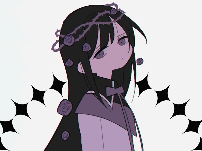 1girl akemi_homura argyle argyle_background arms_at_sides black_hair black_theme capelet crown crown_of_thorns expressionless flat_chest flower grey_background grey_capelet grey_eyes grey_flower grey_ribbon grey_rose hair_between_eyes hair_flower hair_ornament head_tilt high_collar jitome long_hair long_sleeves mahou_shoujo_madoka_magica muted_color neck_ribbon no_nose parted_lips ribbon rose shirt simple_background solo straight_hair thorns upper_body white_shirt yuri7s0