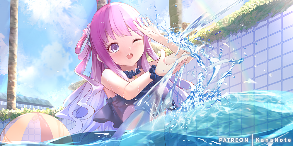 1girl ball bare_shoulders beachball blue_swimsuit blush candy_hair_ornament food-themed_hair_ornament gradient_hair hair_ornament hair_rings himemori_luna hololive kananote long_hair multicolored_hair one-piece_swimsuit one_eye_closed one_side_up open_mouth pink_hair pool purple_hair scrunchie smile solo summer swimsuit upper_teeth violet_eyes virtual_youtuber wavy_hair wrist_scrunchie