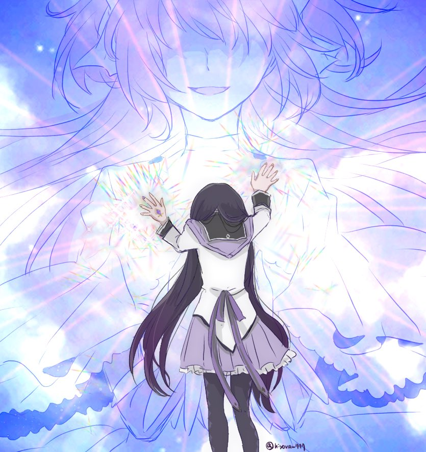2girls akemi_homura back_bow black_hair black_legwear blue_sky bow capelet choker clothes_lift clouds cloudy_sky double_exposure faceless faceless_female facing_away feet_out_of_frame fingernails floating_hair from_behind glowing goddess_madoka hand_rest hands_up head_down hiyo_(jkly) kaname_madoka light_particles light_rays light_smile long_hair long_sleeves mahou_shoujo_madoka_magica multiple_girls no_eyes pantyhose parted_lips pink_hair pleated_skirt purple_bow purple_capelet purple_skirt shirt size_difference skirt sky solo_focus soul_gem sparkle twitter_username two_side_up very_long_hair white_shirt wide_sleeves