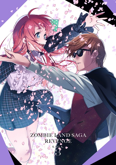 1boy 1girl ahoge bangs blue_eyes bow breasts brown_hair cherry_blossoms commentary_request copyright_name cover dvd_cover floating_hair from_side jacket jacket_on_shoulders long_hair long_sleeves minamoto_sakura official_art open_hand open_mouth outstretched_arm parted_lips petals plaid plaid_skirt polka_dot polka_dot_bow red_vest redhead school_uniform second-party_source shirt short_hair skirt smile suit_jacket sunglasses tatsumi_koutarou upper_teeth vest white_shirt zombie_land_saga
