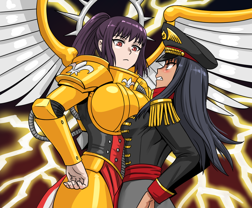2girls adepta_sororitas anime_coloring armor asymmetrical_docking bangs black_hair boobplate breast_contest breast_press breasts clenched_teeth commentary commissar crossover english_commentary eye_contact fleur_de_lis flick-the-thief halo hand_on_hip hat huge_breasts ijiranaide_nagatoro-san large_breasts lightning long_hair long_sleeves looking_at_another military military_hat military_uniform multiple_girls nagatoro_hayase pauldrons peaked_cap ponytail power_armor red_eyes shoulder_armor small_breasts standing sunomiya_sana teeth uniform warhammer_40k wings