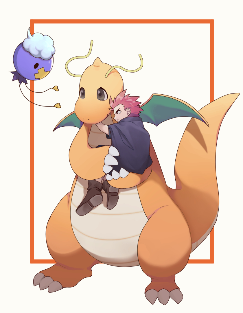 1boy boots brown_footwear carrying claws commentary_request dragonite drifloon flying framed gen_1_pokemon gen_4_pokemon holding holding_pokemon john_(user_wmrz3824) lance_(pokemon) male_focus pokemon pokemon_(creature) redhead short_hair spiky_hair white_background younger
