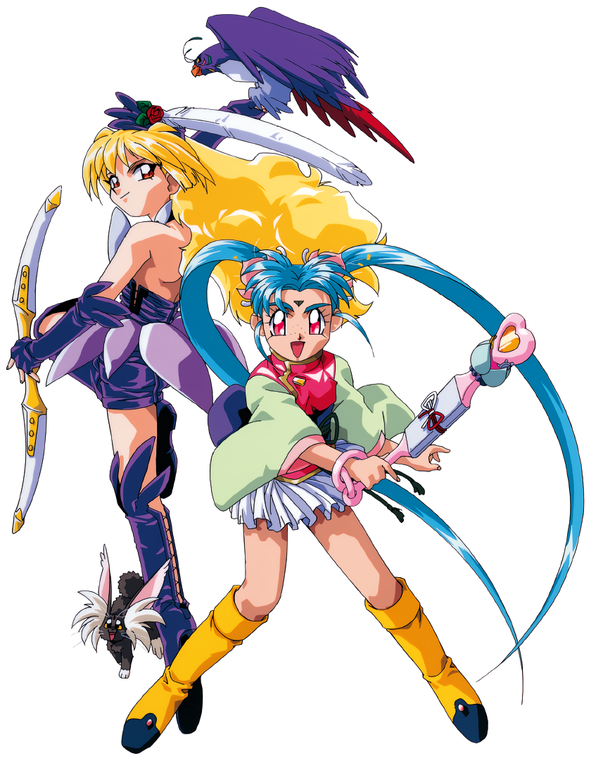 1990s_(style) 1girl 2girls aqua_hair arm_up bangs bird blonde_hair boots cabbit elbow_gloves facial_mark feathers fingerless_gloves forehead_mark freckles gloves holding holding_wand kawai_sasami knee_boots long_hair long_sleeves looking_at_viewer magical_girl mahou_shoujo_pretty_sammy masaki_sasami_jurai miniskirt multiple_girls obi official_art open_mouth pink_eyes pixy_misa pleated_skirt pretty_sammy_(character) red_eyes retro_artstyle ryou-ouki sash simple_background skirt smile solo twintails very_long_hair wand white_background white_skirt