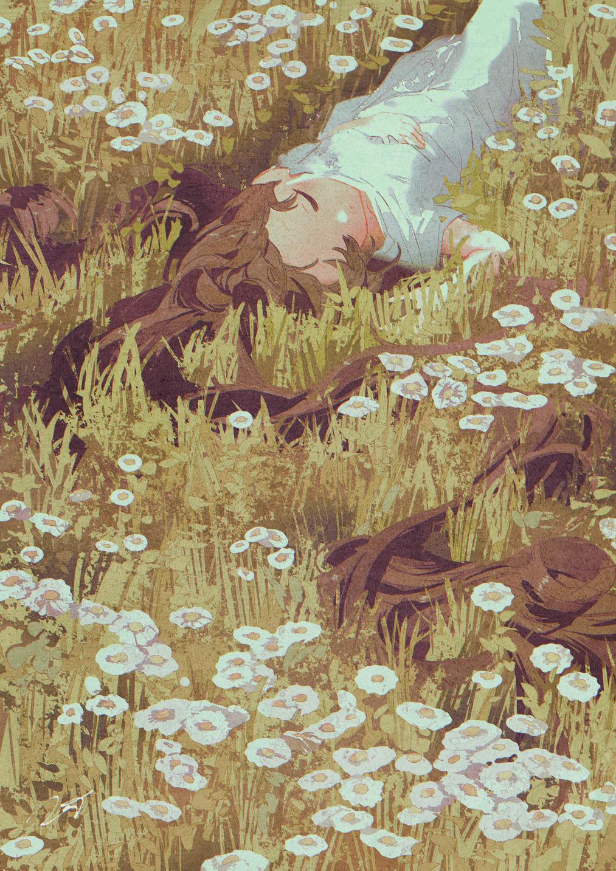 1girl blush brown_hair closed_eyes closed_mouth daisy dress field flower flower_field grass highres long_hair lying on_back original plant potg_(piotegu) short_sleeves sleeping solo white_dress white_flower