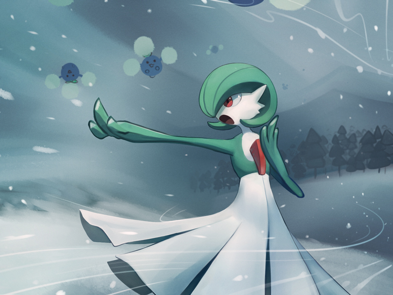 blizzard commentary_request flying gardevoir gen_2_pokemon gen_3_pokemon guodon hand_up jumpluff open_mouth outdoors outstretched_arm pokemon pokemon_(creature) red_eyes smile snow snowing standing tongue tree