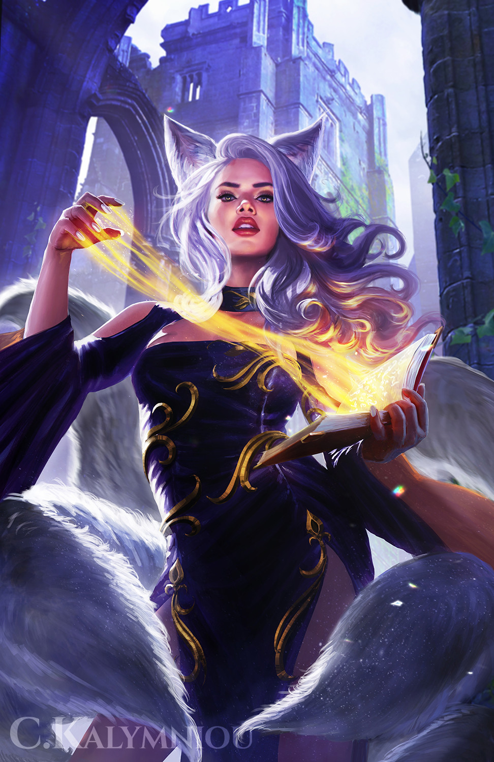 1girl animal_ears book breasts casting_spell castle caterina_kalymniou china_dress chinese_clothes dress fantasy fox_ears fox_girl fox_tail grimoire heretic_spellblade highres holding holding_book long_sleeves looking_at_viewer magic medium_hair multiple_tails purple_dress silver_hair sleeves_past_elbows solo tail watermark
