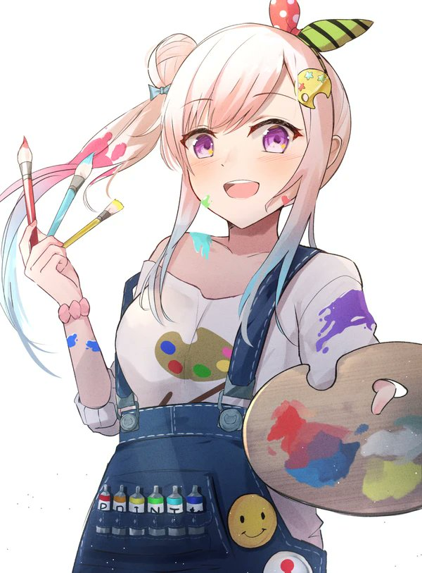 1girl airani_iofifteen blue_overalls bow buttons collarbone eyebrows_visible_through_hair gradient_hair hair_behind_ear hair_bow holding holding_paintbrush hololive hololive_indonesia l3167ls3 looking_at_viewer multicolored_hair off-shoulder_shirt off_shoulder open_mouth overalls paint_in_hair paint_on_body paint_on_clothes paint_on_face paint_splatter paint_tube paintbrush palette palette_hair_ornament pink_hair print_shirt scrunchie shirt side_bun sidelocks smile solo violet_eyes virtual_youtuber white_background white_shirt
