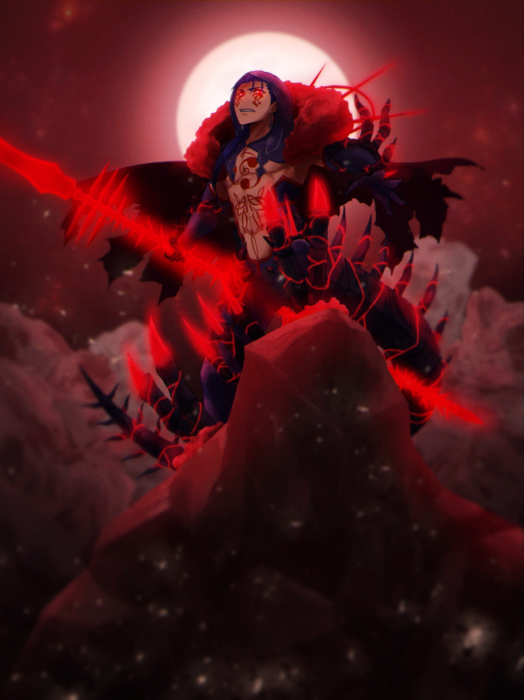 1boy abs angry black_gloves black_pants blue_hair bodypaint bulge cape claws closed_mouth cu_chulainn_(fate)_(all) cu_chulainn_alter_(fate/grand_order) dark_blue_hair dark_persona detached_hood earrings elbow_gloves facepaint fate/grand_order fate_(series) full_moon fur-trimmed_cape fur_trim gae_bolg_(fate) gloves glowing glowing_eyes glowing_weapon highres holding holding_polearm holding_weapon hood hood_up jewelry knee_up long_hair male_focus monster_boy moon moto_u_toe_say muscular muscular_male navel outdoors pants pectorals polearm ponytail red_eyes sharp_teeth shirtless skin_tight solo spikes tail teeth weapon