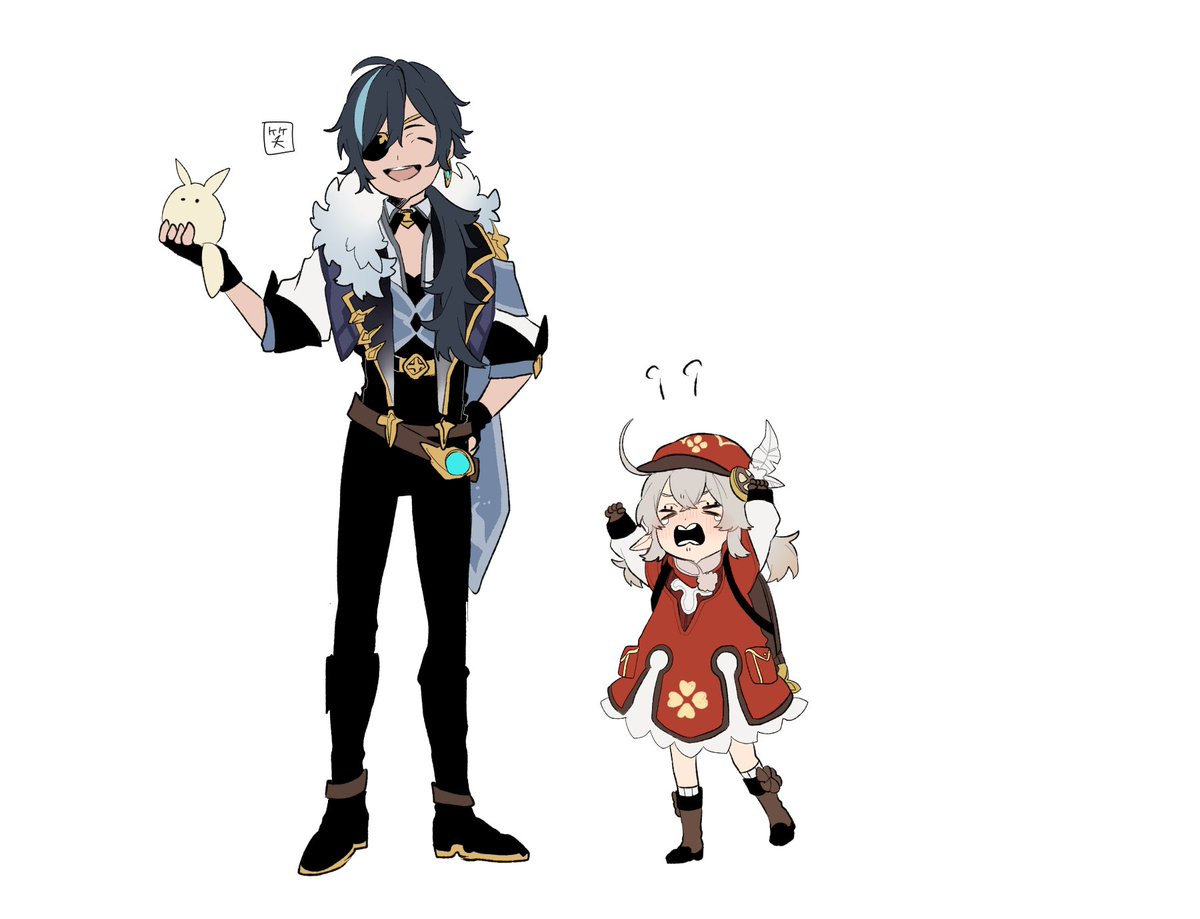 >_< >o< 1boy 1girl angry backpack bad_id bad_twitter_id bag black_hair blue_hair blush brown_gloves cabbie_hat closed_eyes clover clover_print coat commentary crying dodoco_(genshin_impact) dress earrings eyepatch fur_scarf genshin_impact gloves hat hat_feather holding jewelry kaeya_(genshin_impact) klee_(genshin_impact) laughing low_twintails multicolored_hair nishikichi open_mouth reaching reaching_out red_coat red_dress red_headwear simple_background single_earring smile twintails two-tone_hair vision_(genshin_impact) white_background white_feathers