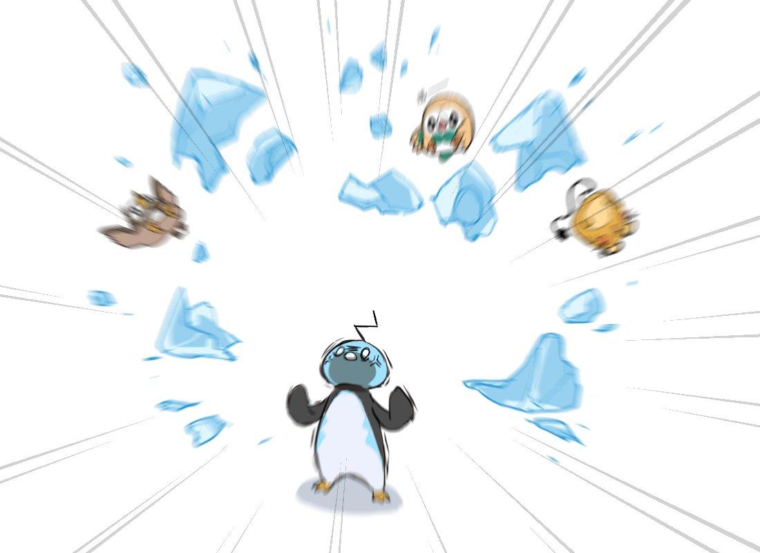 0_0 anger_vein angry bird blurry dedenne eiscue eiscue_(noice) emphasis_lines gen_4_pokemon gen_6_pokemon gen_7_pokemon gen_8_pokemon hands_up head_back ice looking_up motion_blur no_humans piku_(another_pikuru) pokemon pokemon_(creature) rowlet standing starly