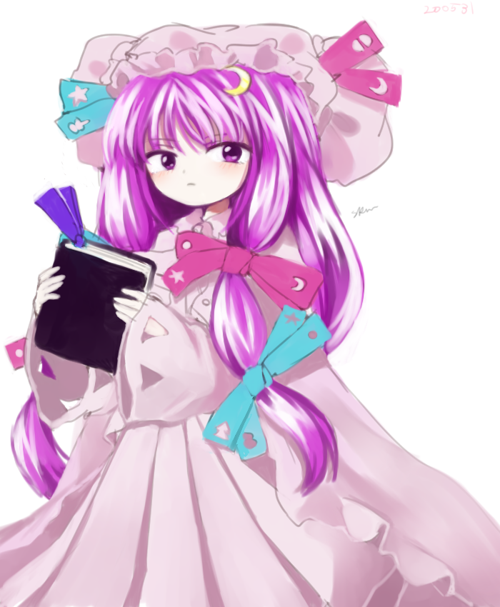 1girl aqua_ribbon book bun_cover cloak closed_mouth commentary double_bun dress eyebrows_visible_through_hair hair_ribbon hat hat_ribbon hayakumo_(okura_oishiiii) holding holding_book long_hair long_sleeves mob_cap official_style patchouli_knowledge pink_cloak pink_dress pink_ribbon purple_hair ribbon shiny shiny_hair sidelocks signature simple_background sleeves_past_wrists solo striped touhou tress_ribbon vertical-striped_dress vertical_stripes violet_eyes white_background wide_sleeves wing_collar zun_(style)