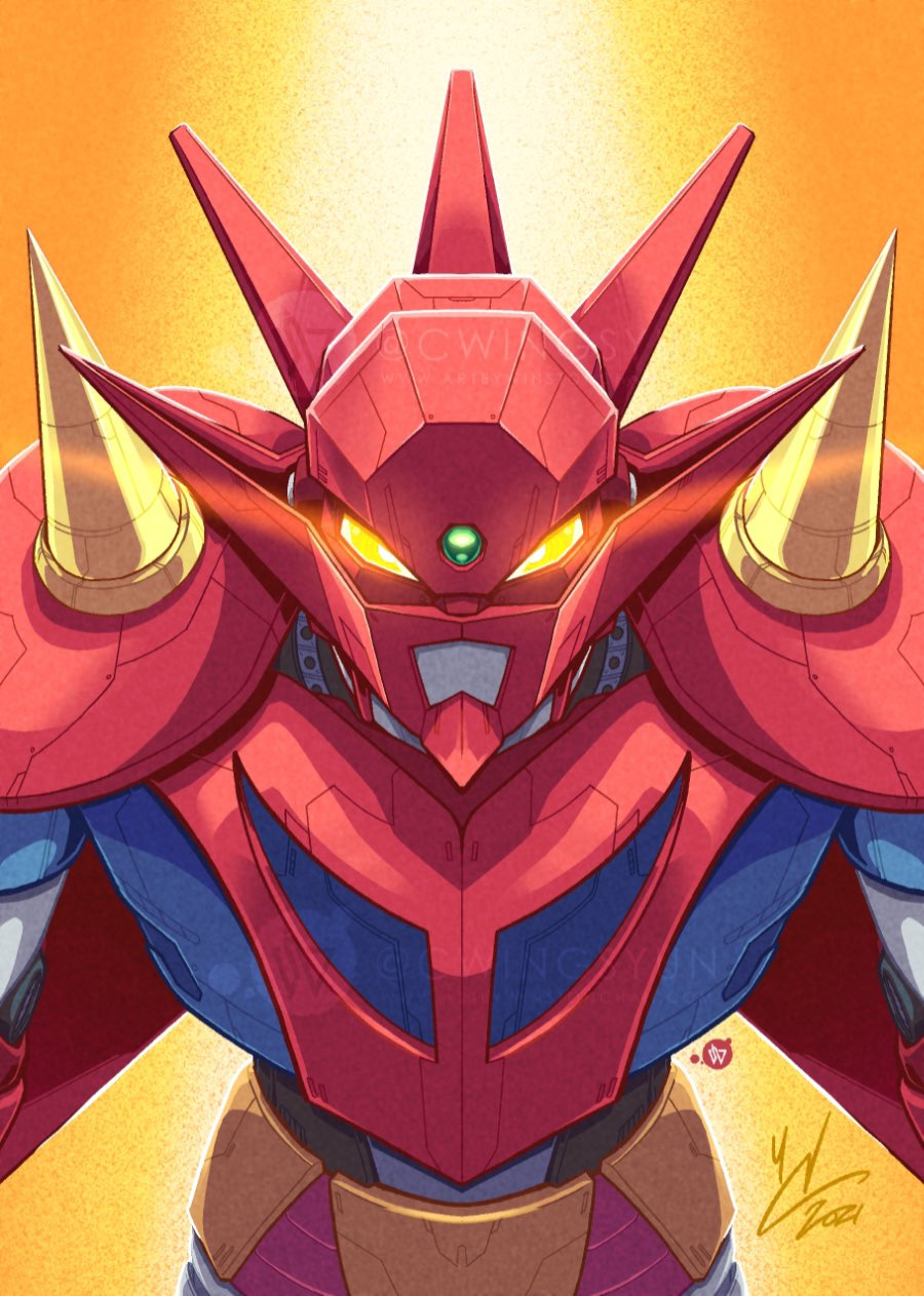 english_commentary getter_dragon getter_robo getter_robo_g glowing glowing_eyes highres leaning_forward mecha no_humans science_fiction signature solo spikes super_robot winston_chan yellow_background