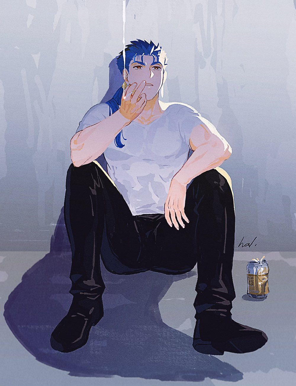 1boy alternate_costume beer_can biceps blue_hair can cigarette cu_chulainn_(fate)_(all) cu_chulainn_(fate/stay_night) earrings fate/stay_night fate_(series) hal_(haaaalhal) highres jewelry leather leather_pants long_hair looking_up male_focus muscular muscular_male open_mouth pants ponytail red_eyes shirt short_sleeves signature sitting smoke smoking solo spiky_hair t-shirt v-neck