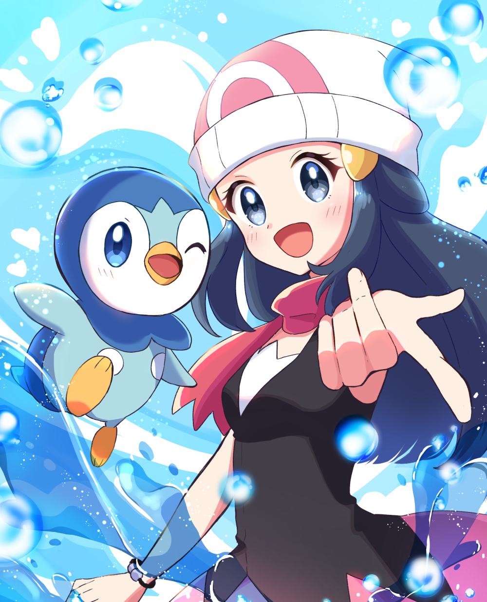 1girl :d beanie black_hair blush bracelet breasts bubble commentary_request dawn_(pokemon) eyelashes gen_4_pokemon grey_eyes hair_ornament hairclip haru_(haruxxe) hat heart highres jewelry long_hair looking_at_viewer open_mouth piplup pointing pokemon pokemon_(anime) pokemon_(creature) pokemon_swsh_(anime) purple_scarf scarf sleeveless smile starter_pokemon tongue white_headwear