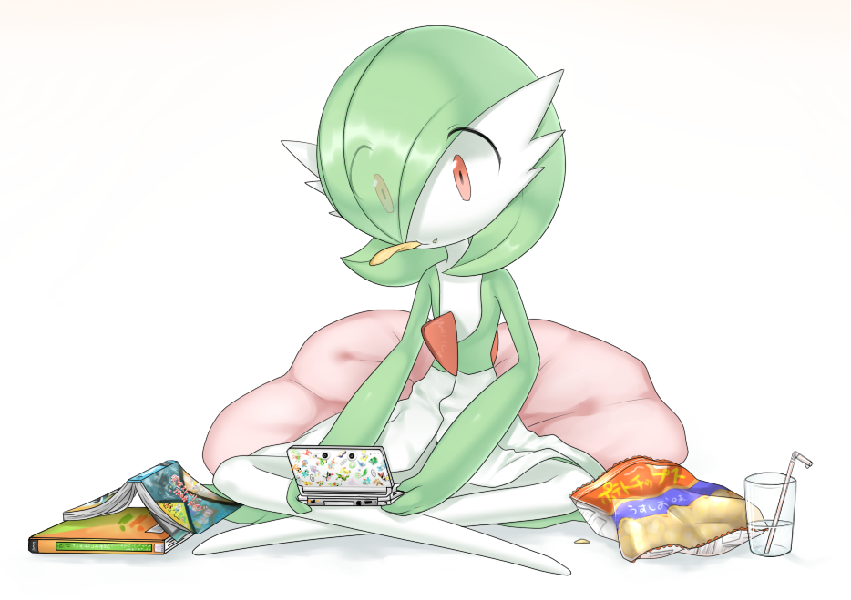 1girl bag bangs bob_cut book chips closed_mouth colored_skin commentary_request cup cushion drink drinking_glass drinking_straw eating eyes_visible_through_hair flat_chest food food_on_face full_body gardevoir gen_3_pokemon green_hair green_skin hair_over_one_eye handheld_game_console holding holding_handheld_game_console indian_style looking_down lotosu mouth_hold multicolored multicolored_skin nintendo_3ds open_book partial_commentary pokemon pokemon_(creature) red_eyes shiny shiny_hair short_hair simple_background sitting solo two-tone_skin water white_background white_skin
