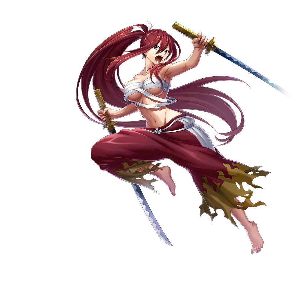 1girl armpits artist_request barefoot breasts brown_eyes dual_wielding earrings erza_scarlet fairy_tail full_body hair_between_eyes holding holding_sword holding_weapon jewelry katana large_breasts long_hair looking_at_viewer midriff navel official_art open_mouth pants ponytail redhead sarashi solo sword teeth tongue transparent_background under_boob valkyrie_connect very_long_hair weapon