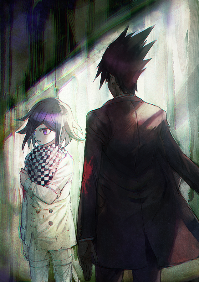 2boys aoki_(fumomo) bangs black_hair black_scarf blood bloody_clothes buttons checkered checkered_neckwear checkered_scarf commentary_request dangan_ronpa_(series) dangan_ronpa_v3:_killing_harmony double-breasted flipped_hair from_behind grey_jacket hand_on_own_arm jacket long_sleeves looking_at_another looking_away male_focus momota_kaito multiple_boys ouma_kokichi pants pink_blood pink_jacket pink_pants purple_hair scarf short_hair spiky_hair straitjacket violet_eyes white_scarf