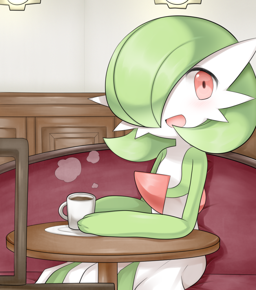 1girl bangs blush bob_cut cafe coffee colored_skin commentary_request cup drink flat_chest gardevoir gen_3_pokemon green_hair green_skin hair_over_one_eye happy holding holding_cup indoors light_blush looking_to_the_side lotosu mug multicolored multicolored_skin on_chair open_mouth partial_commentary pokemon pokemon_(creature) red_eyes saucer shiny shiny_hair short_hair sitting smile solo steam table two-tone_skin white_skin