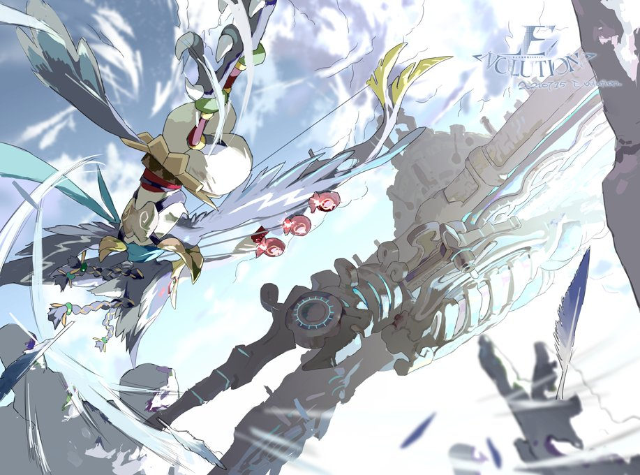 1boy animal_head artist_name beak bird_boy bow_(weapon) clouds cloudy_sky dated e_volution feathered_wings feathers flying no_humans outdoors revali rito sky solo the_legend_of_zelda the_legend_of_zelda:_breath_of_the_wild vah_medoh weapon wind winged_arms wings