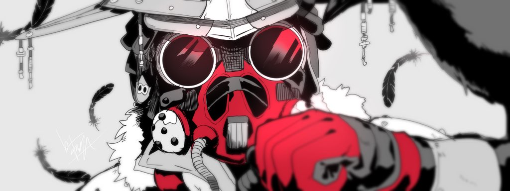 1other ambiguous_gender animal_on_arm apex_legends bird bird_on_arm bloodhound_(apex_legends) clenched_hand crow gloves goggles grey_background helmet mashiro_(rikuya) mask mouth_mask portrait red_gloves solo spot_color