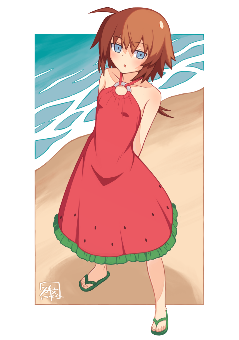 1girl :o arms_behind_back artist_name bangs beach blue_eyes brown_hair casual commentary day dress food_print frilled_dress frills full_body green_footwear halterneck hibun_tsukasa looking_at_viewer lyrical_nanoha mahou_shoujo_lyrical_nanoha mahou_shoujo_lyrical_nanoha_a's mahou_shoujo_lyrical_nanoha_a's_portable:_the_battle_of_aces material-s medium_dress outdoors outside_border parted_lips print_dress red_dress sandals short_hair signature solo standing water watermelon_print