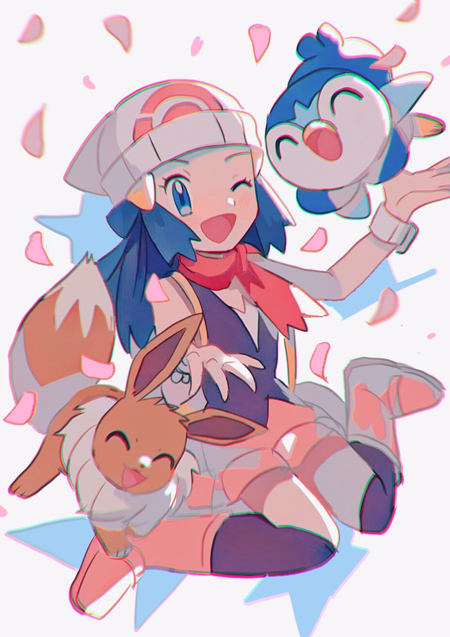 1girl ;d beanie blue_eyes blue_hair boots bracelet brown_legwear commentary_request dawn_(pokemon) eevee eyelashes gen_1_pokemon gen_4_pokemon hair_ornament hairclip hands_up hat highres hinann_bot jewelry kneehighs long_hair one_eye_closed open_mouth petals pink_footwear piplup pokemon pokemon_(anime) pokemon_(creature) pokemon_swsh_(anime) red_scarf scarf sitting sleeveless smile tongue white_headwear