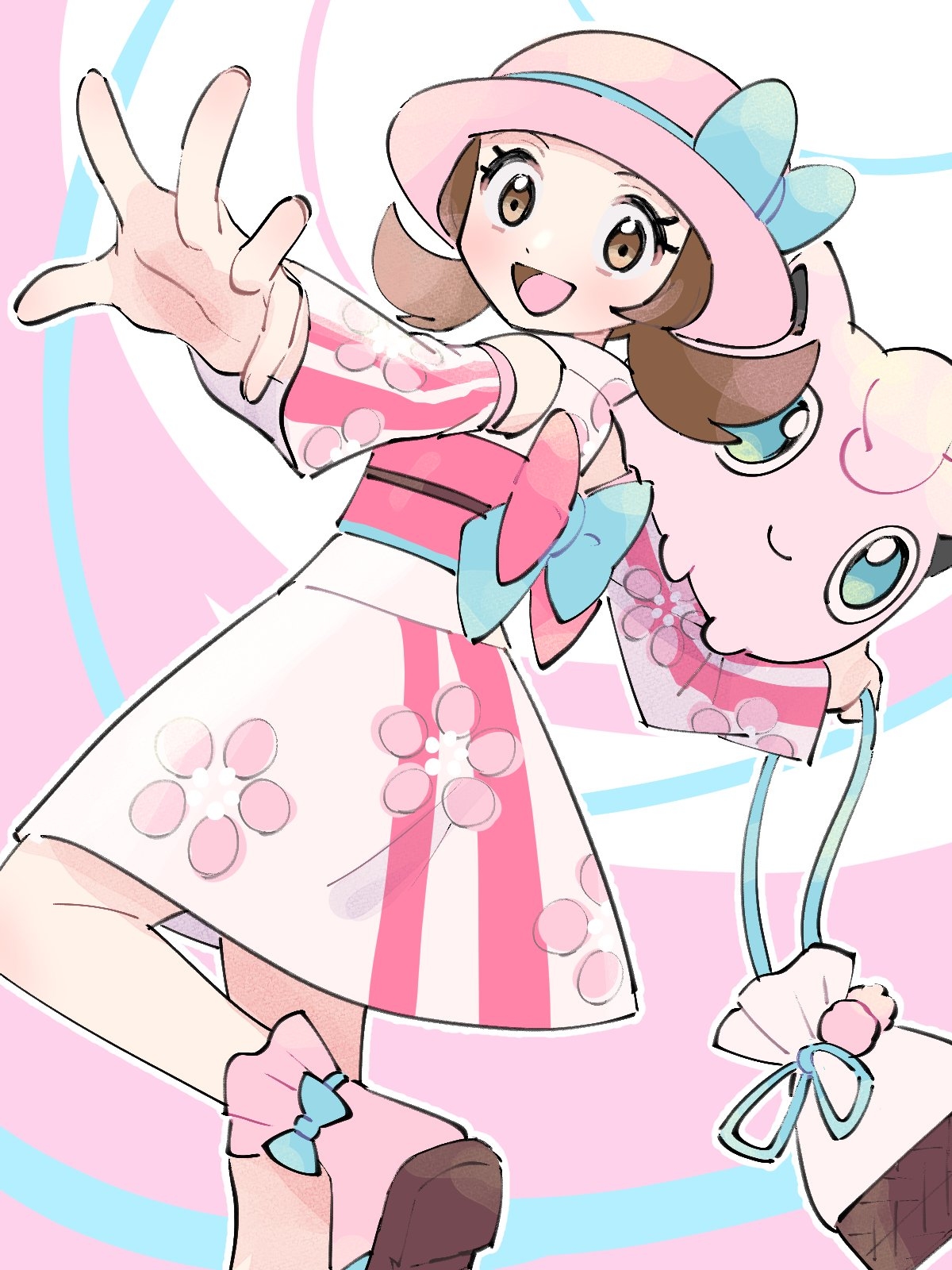 1girl :d alternate_color bow bow_legwear brown_eyes brown_hair commentary_request detached_sleeves eyelashes floral_print gen_1_pokemon hat hat_bow highres holding jigglypuff leg_up lyra_(pokemon) official_alternate_costume open_mouth pink_headwear pink_legwear pokemon pokemon_(creature) pokemon_(game) pokemon_masters_ex pokemon_on_arm pouch pumpkinpan sandals sash smile socks spread_fingers tongue twintails