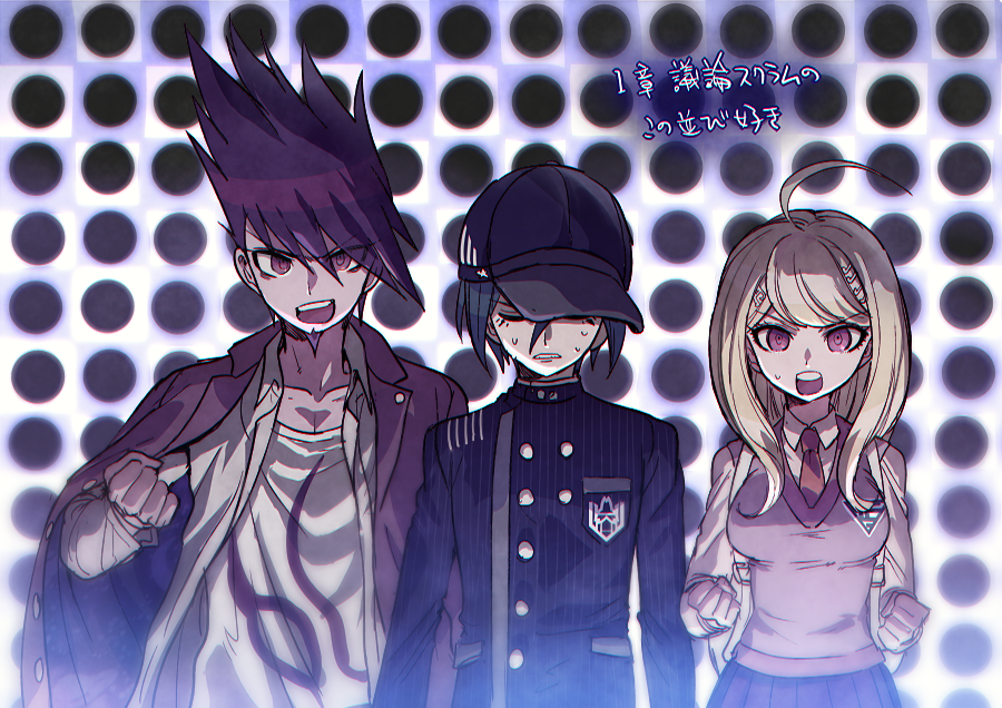 1girl 2boys ahoge akamatsu_kaede aoki_(fumomo) backpack bag bangs baseball_cap black_hair black_headwear blonde_hair breasts buttons clenched_hand clenched_hands collarbone collared_shirt dangan_ronpa_(series) dangan_ronpa_v3:_killing_harmony double-breasted eighth_note facial_hair gakuran goatee hair_ornament halftone halftone_background hand_up hat jacket jacket_on_shoulders large_breasts long_hair long_sleeves looking_at_viewer momota_kaito multiple_boys musical_note musical_note_hair_ornament necktie open_clothes open_mouth open_shirt pink_eyes pink_jacket pink_vest polka_dot polka_dot_background print_shirt purple_hair purple_skirt saihara_shuuichi school_uniform shirt short_hair sixteenth_note skirt spiky_hair striped sweat teeth translation_request upper_teeth vest white_shirt