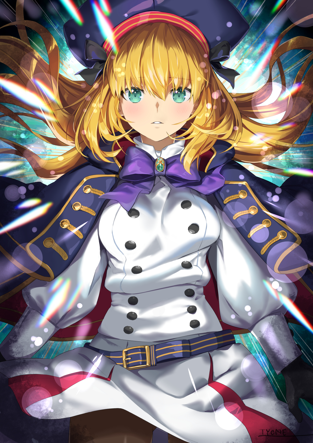 1girl artoria_pendragon_(all) artoria_pendragon_(caster)_(fate) bangs belt beret black_gloves black_legwear blonde_hair blue_cape blue_headwear blush breasts buttons cape double-breasted dress fate/grand_order fate_(series) gloves green_eyes hat highres hood hooded_cape long_hair long_sleeves looking_at_viewer multicolored multicolored_cape multicolored_clothes pantyhose red_cape small_breasts thighs twintails tyone white_dress