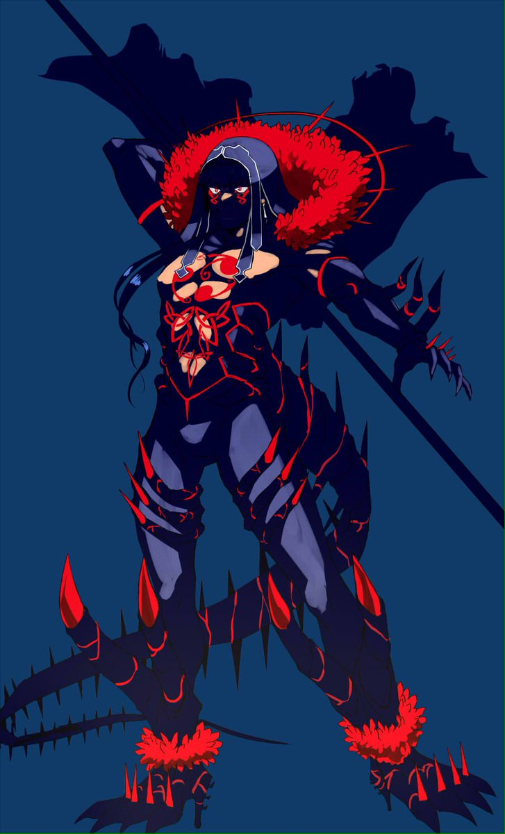 1boy arm_up black_gloves black_pants blue_background blue_hair bodypaint bulge cape claws cu_chulainn_(fate)_(all) cu_chulainn_alter_(fate/grand_order) dark_persona earrings elbow_gloves facepaint fate/grand_order fate_(series) floating_hair full_body fur-trimmed_cape fur_trim gloves highres hood hood_up jewelry long_hair male_focus monster_boy muscular muscular_male pants pectorals ponytail red_eyes shirtless simple_background skin_tight solo spikes tail tikarawaza