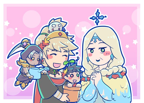 2boys 2girls :d ^_^ astraea_f black_hair blonde_hair blush_stickers chibi closed_eyes commentary demeter_(hades) dress earrings flower_pot greek_clothes green_eyes hades_(game) hands_clasped heterochromia hood hood_up jewelry laurel_crown miniboy multiple_boys multiple_girls open_mouth own_hands_together persephone_(hades) plant_on_head red_eyes scythe silver_hair smile star_(symbol) thanatos_(hades) watering_can yellow_eyes zagreus_(hades)