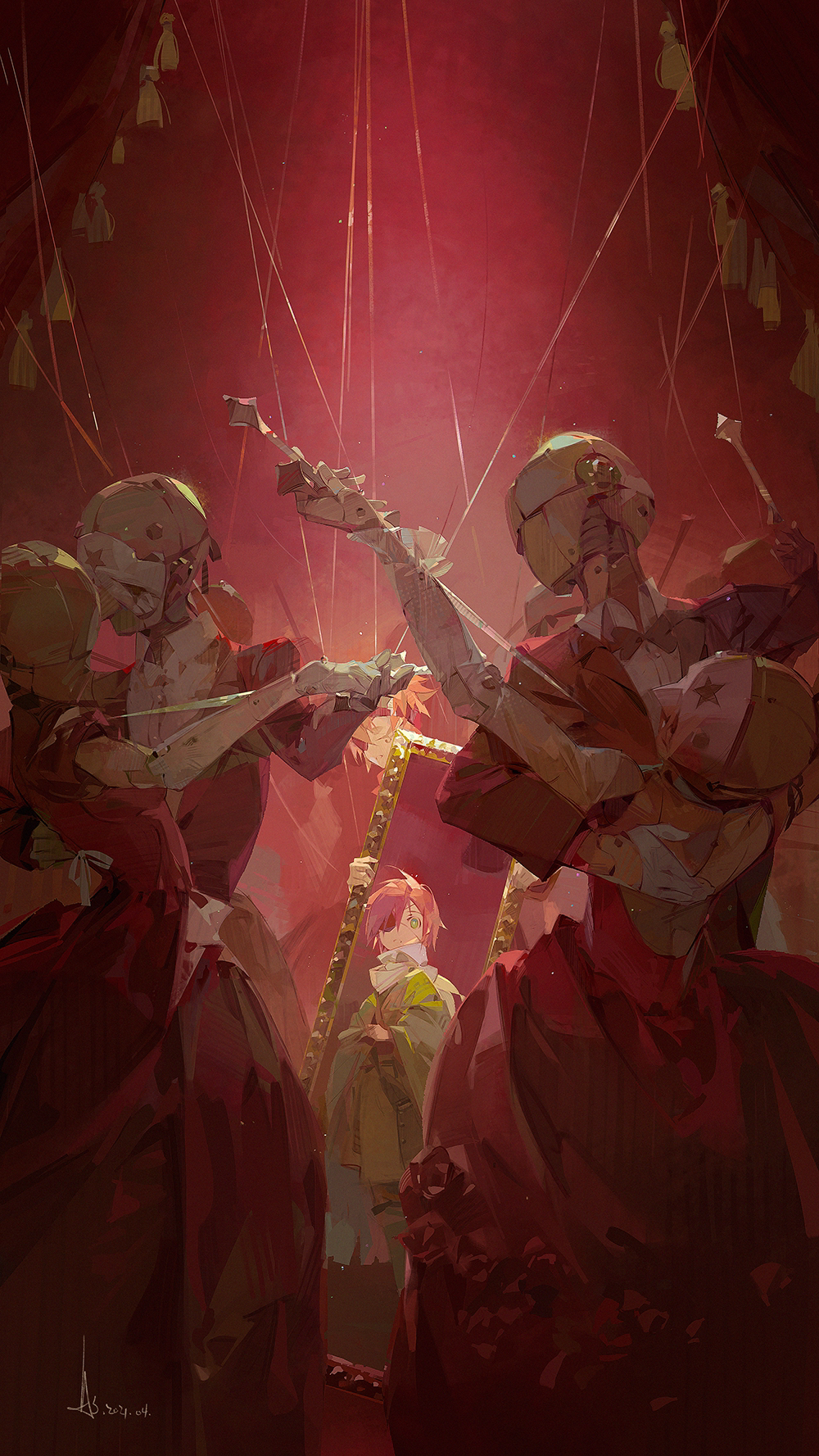 2boys 4others a-shacho bow bowtie carnival_mask d.gray-man dancing dress dress_shirt english_commentary eyepatch green_eyes hair_down headband highres holding joints lavi long_sleeves multiple_boys multiple_others red_dress redhead robot shirt short_hair signature spiky_hair star_(symbol) time_paradox tuxedo wire younger