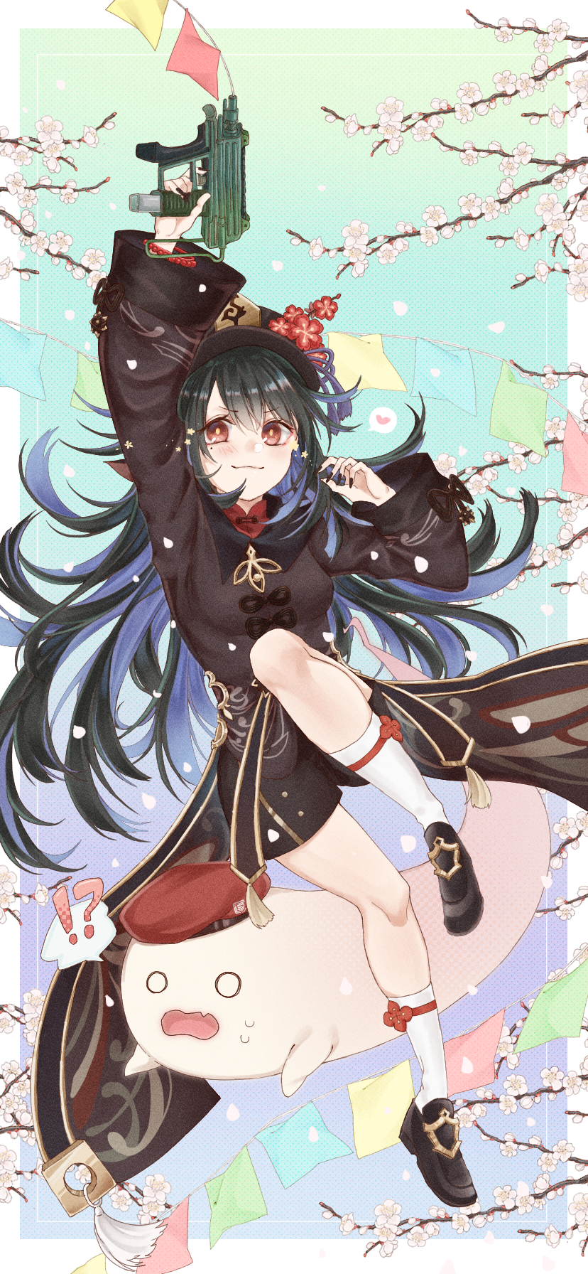 !? 1girl bangs beret black_footwear black_hair black_nails breasts brown_headwear c-ms_(girls_frontline) cbj-ms cherry_blossoms chinese_clothes closed_mouth commentary_request cosplay crossover full_body genshin_impact ghost girls_frontline gun hair_between_eyes hat heart highres holding holding_gun holding_weapon hu_tao_(genshin_impact) hu_tao_(genshin_impact)_(cosplay) long_hair long_sleeves looking_at_viewer mole mole_under_eye open_mouth rabb_horn red_eyes red_headwear shoes smile solo speech_bubble surprised weapon white_legwear