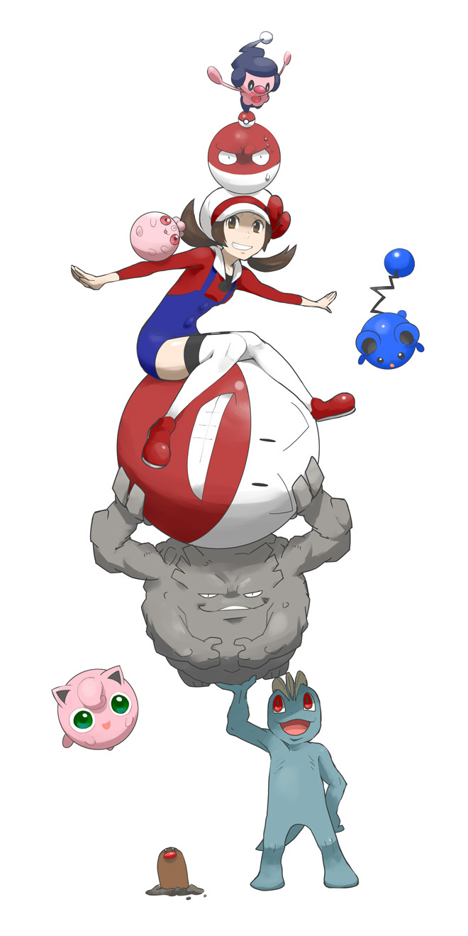 1girl balancing blue_overalls bow brown_eyes brown_hair cabbie_hat commentary_request diglett electrode gen_1_pokemon gen_2_pokemon gen_4_pokemon graveler hat hat_bow highres igglybuff jigglypuff knees_together_feet_apart long_hair lyra_(pokemon) machop marill mikami mime_jr. on_head outstretched_arms poke_ball poke_ball_(basic) pokemon pokemon_(creature) pokemon_(game) pokemon_hgss pokemon_on_arm pokemon_on_head red_bow red_footwear red_shirt shirt shoes simple_background sitting sweat thigh-highs twintails voltorb white_background white_headwear white_legwear