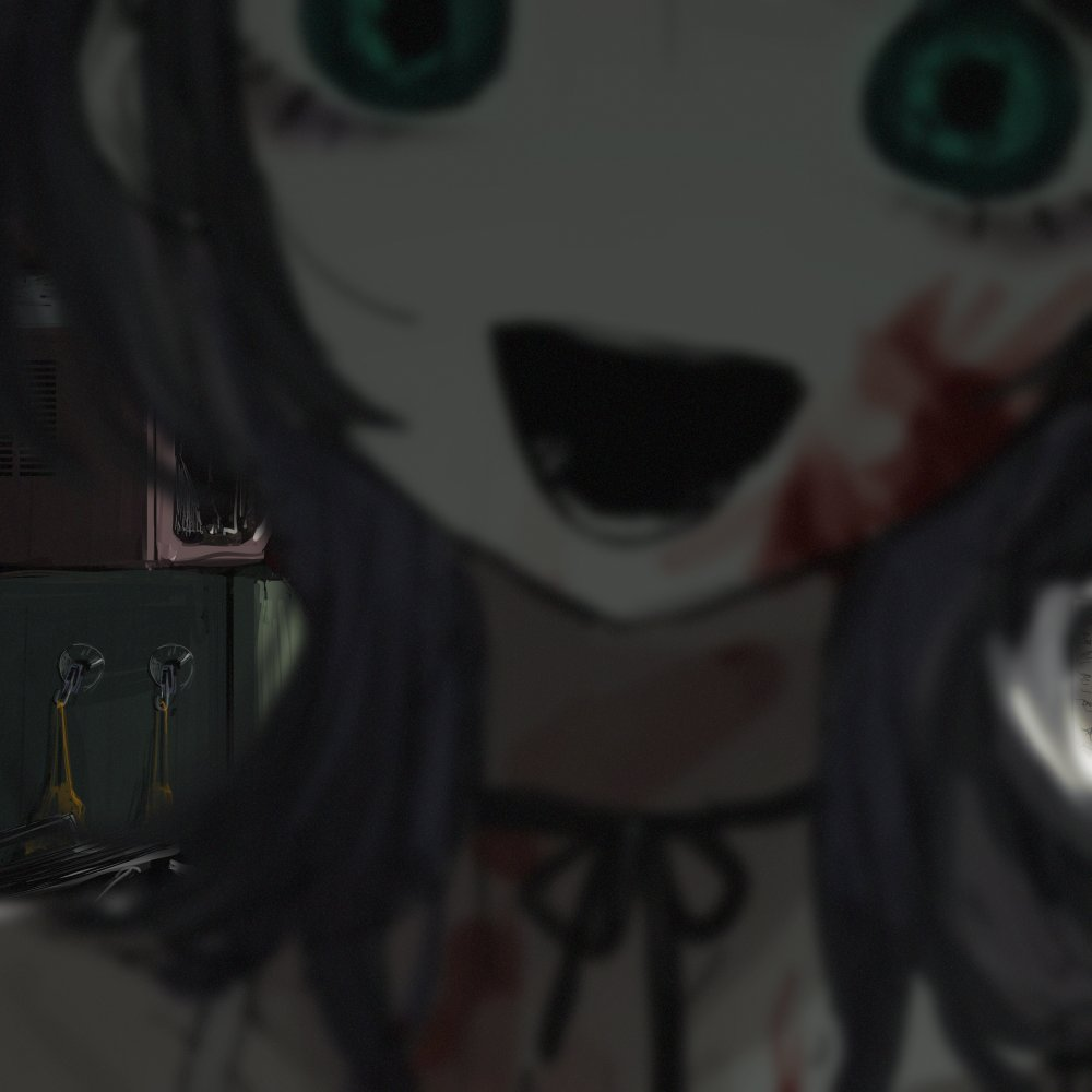 1girl black_hair blood blood_on_face blurry blurry_foreground choker close-up green_eyes horror_(theme) indoors microwave narue open_mouth original refrigerator ribbon_choker short_hair solo trash_can