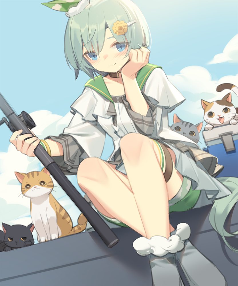 +_+ 1girl animal animal_ears bangs black_cat blue_eyes blue_sky blush boots cat closed_mouth clouds commentary_request day eyebrows_behind_hair fishing_rod flower fur-trimmed_boots fur_trim green_sailor_collar green_shorts grey_footwear grey_hair hair_between_eyes hair_flower hair_ornament hairclip holding horse_ears horse_girl horse_tail jacket kildir long_sleeves looking_at_viewer open_clothes open_jacket outdoors sailor_collar seiun_sky_(umamusume) shirt short_shorts shorts sitting sky smile solo tail umamusume white_jacket white_shirt yellow_flower