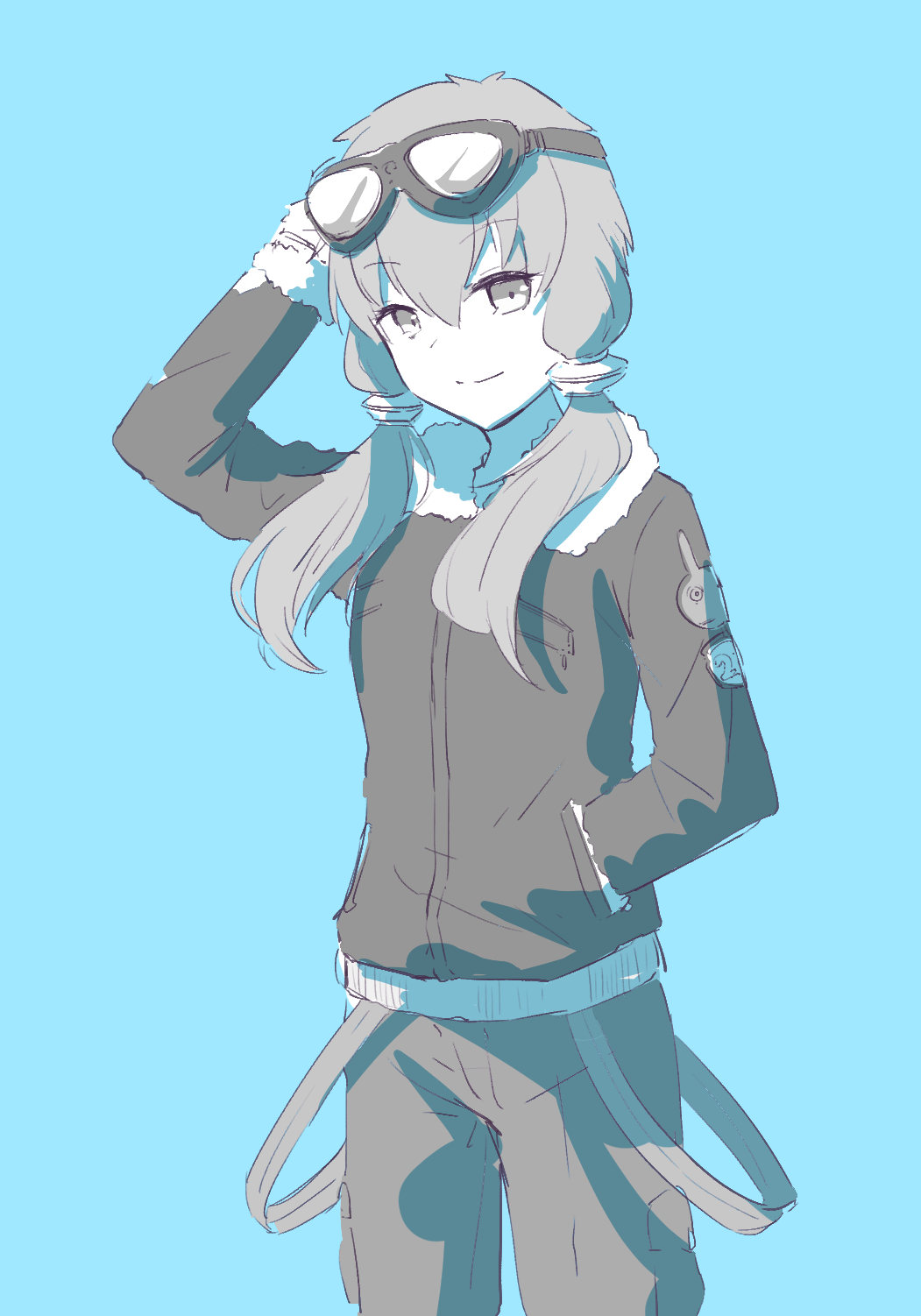 1girl animal_print bunny_print coat commentary cowboy_shot fur-trimmed_coat fur_trim goggles goggles_on_head greyscale hair_tubes hand_in_pocket hand_up highres looking_at_viewer monochrome pty short_hair_with_long_locks sidelocks smile solo standing vocaloid voiceroid yuzuki_yukari