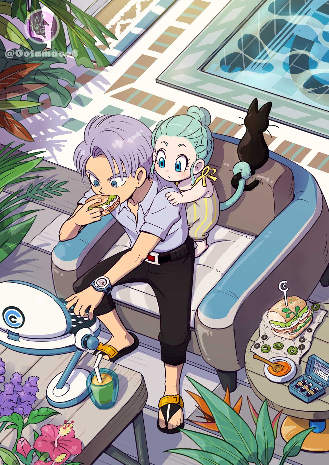 1boy 1girl age_difference animal aqua_hair armchair belt black_belt black_pants blue_eyes bowl box bra_(dragon_ball) braid bread brother_and_sister bud capsule_corp cat caustics chair checkered checkered_floor closed_mouth coffee_table collarbone collared_shirt computer crown_braid dot_nose dragon_ball dragon_ball_z dress_shirt drink drinking_straw eating expressionless flower food food_wrapper from_behind glass grey_shirt hair_bun hair_slicked_back hand_on_another's_shoulder hand_up hibiscus highres hoi-poi_capsule holding holding_another's_tail holding_food juice laptop leaf lettuce looking_down monkey_tail norita_(6110885) olive outstretched_hand pale_skin palm_leaf pants parsley pepper plant pool purple_flower purple_hair red_flower sandals sandwich sauce shadow shirt short_sleeves siblings sidelocks sitting spoon table tail tama_(dragon_ball) trunks_(dragon_ball) twitter_username typing watch watch water wide-eyed wide_shot