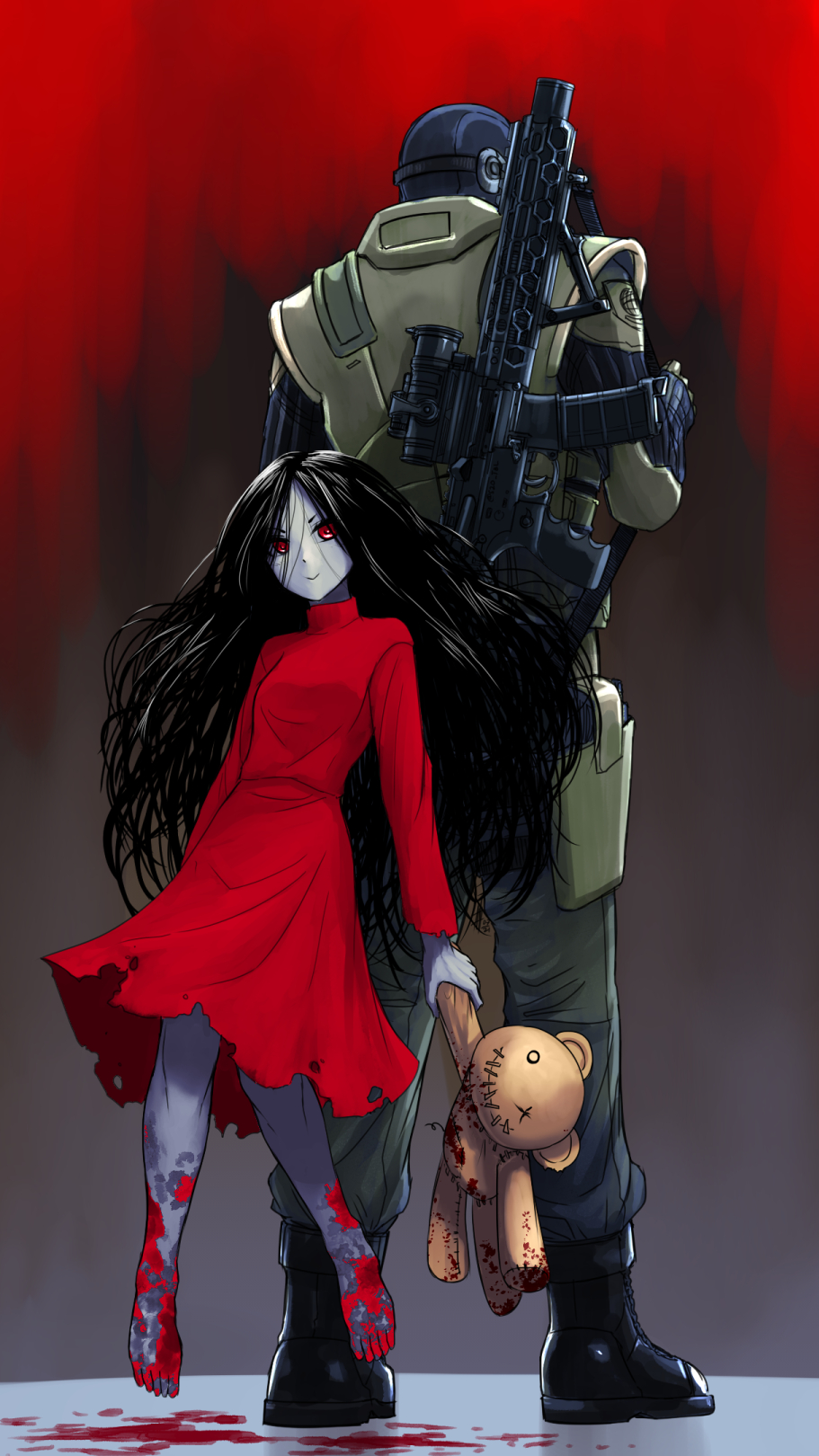 1boy 1girl alma_(f.e.a.r.) assault_rifle back-to-back balaclava barefoot black_hair blood blood_splatter breasts colored_skin dress f.e.a.r. floating grey_skin gun height_difference highres holding holding_stuffed_toy long_dress long_hair messy_hair military_operator mother_and_son parted_hair point_man_(f.e.a.r.) red_dress red_eyes rifle small_breasts stuffed_animal stuffed_toy substance20 teddy_bear torn_clothes torn_dress turtleneck_dress weapon weapon_on_back