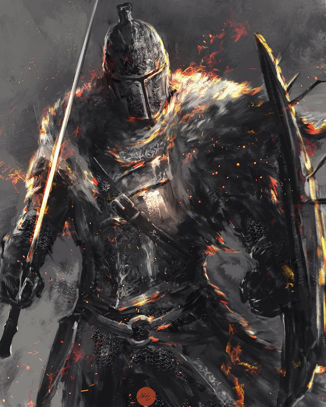 1other ambiguous_gender armor bearer_of_the_curse breastplate cape commentary covered_face cowboy_shot english_commentary helmet highres holding holding_shield holding_sword holding_weapon knight shield shimhaq signature solo souls_(series) standing sword weapon