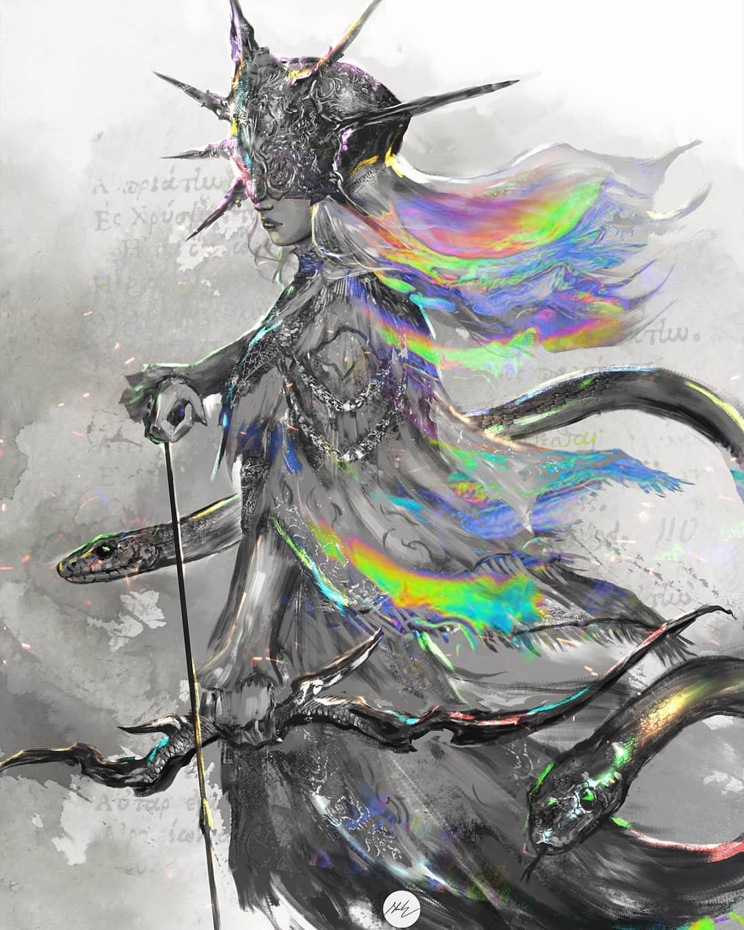 arrow_(projectile) bow_(weapon) closed_mouth commentary covered_eyes dark_souls_i dark_sun_gwyndolin dress english_commentary from_side helmet highres holding holding_arrow holding_bow_(weapon) holding_weapon long_sleeves shimhaq signature snake souls_(series) standing veil weapon