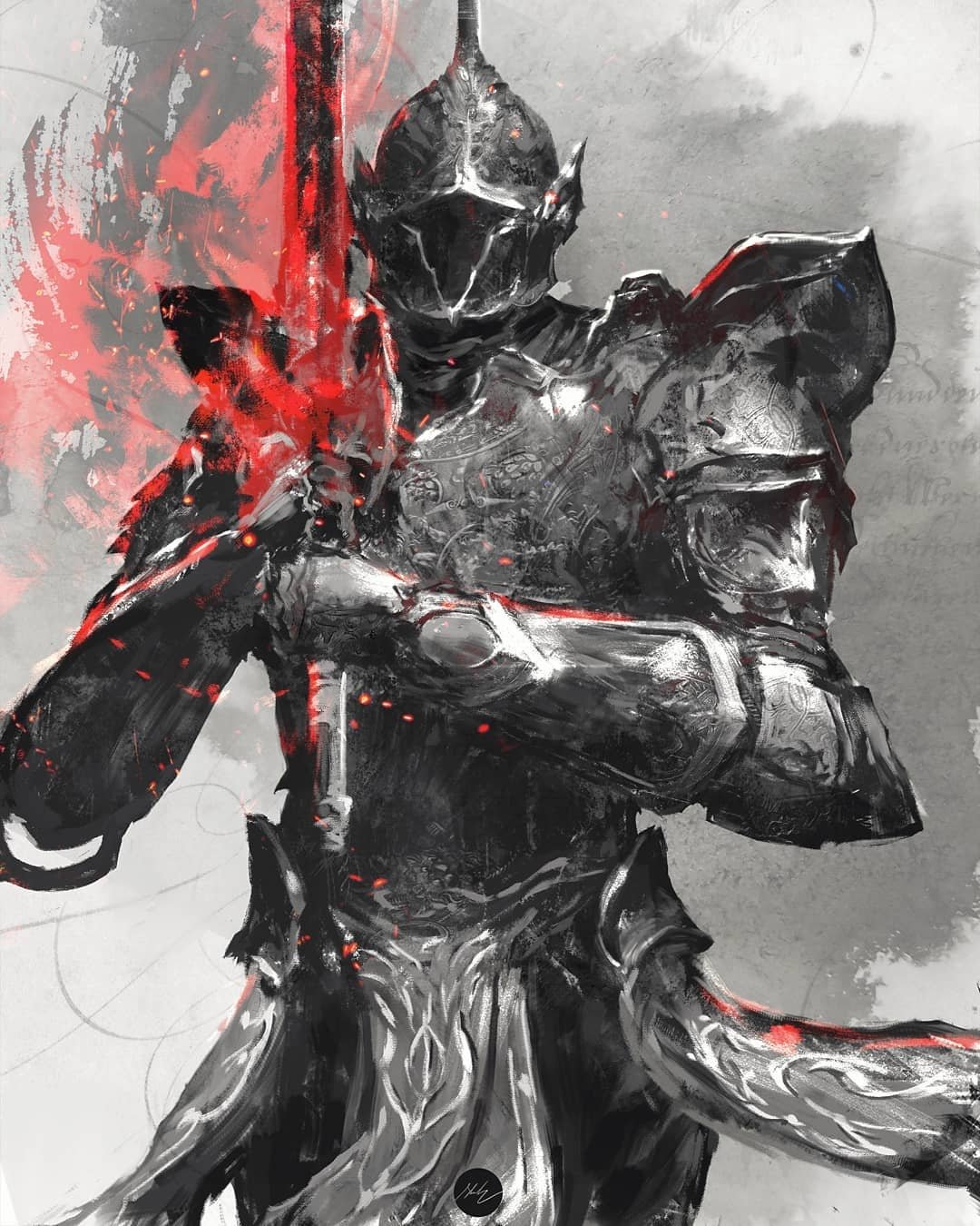 1other ambiguous_gender armor commentary demon's_souls english_commentary full_armor gauntlets helmet highres holding holding_sword holding_weapon pauldrons pelvic_curtain penetrator_(demon's_souls) shimhaq shoulder_armor signature solo souls_(series) sword two-handed waist_cape weapon