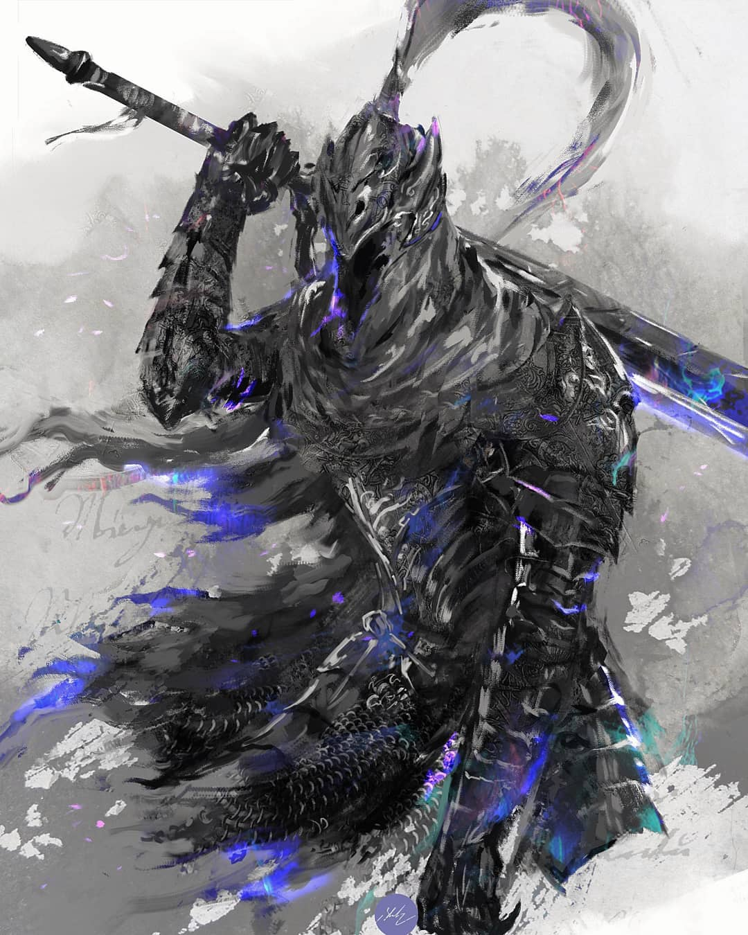 1boy armor artorias_the_abysswalker breastplate dark_souls_i full_armor gauntlets helmet highres holding holding_sword holding_weapon mail_armor male_focus pauldrons plume shimhaq shoulder_armor solo souls_(series) sword weapon