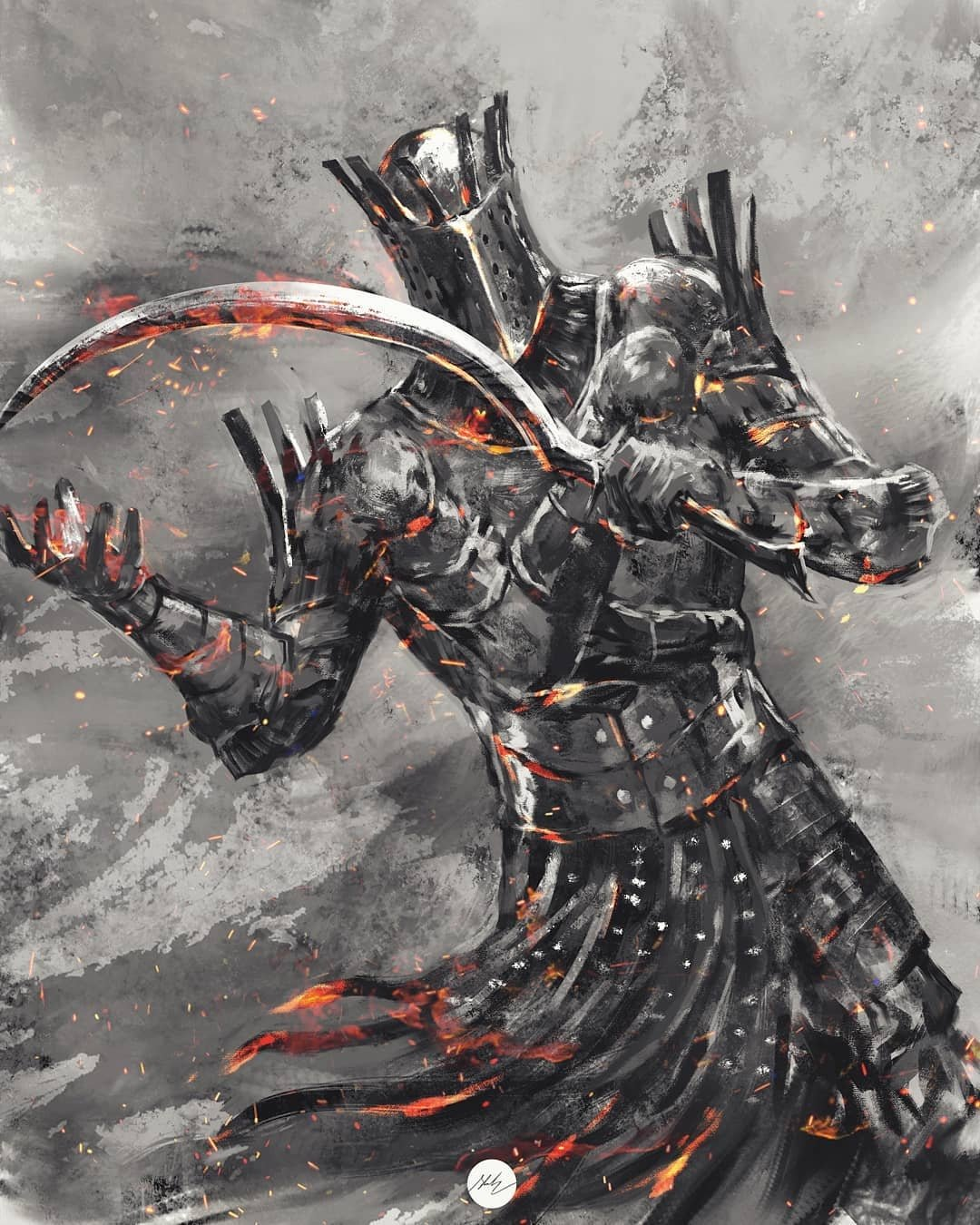 1boy armor breastplate covered_face dark_souls_i full_armor gauntlets greaves helmet highres holding holding_sword holding_weapon knight_lautrec_of_carim shimhaq solo souls_(series) sword waist_cape weapon