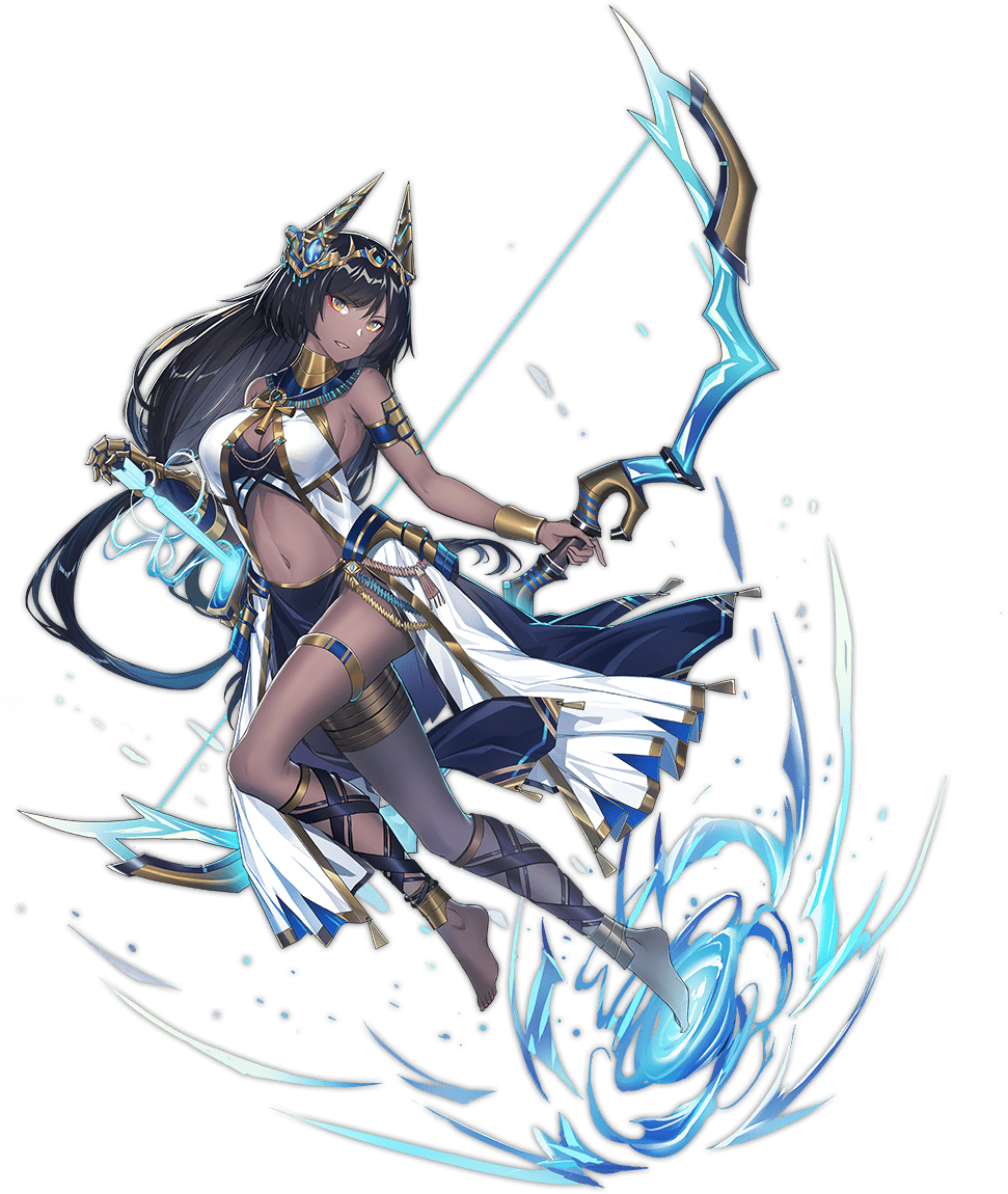 1girl ankh ankle_ribbon anklet ark_order armlet black_skirt black_tank_top bow_(weapon) bracelet dark_skin echj egyptian_mythology eyeshadow gauntlets gold gold_trim holding holding_bow_(weapon) holding_weapon horns jewelry magic makeup official_art pelvic_curtain quiver red_eyeshadow ribbon satis_(ark_order) single_gauntlet skirt solo tachi-e tank_top thighlet tiara weapon