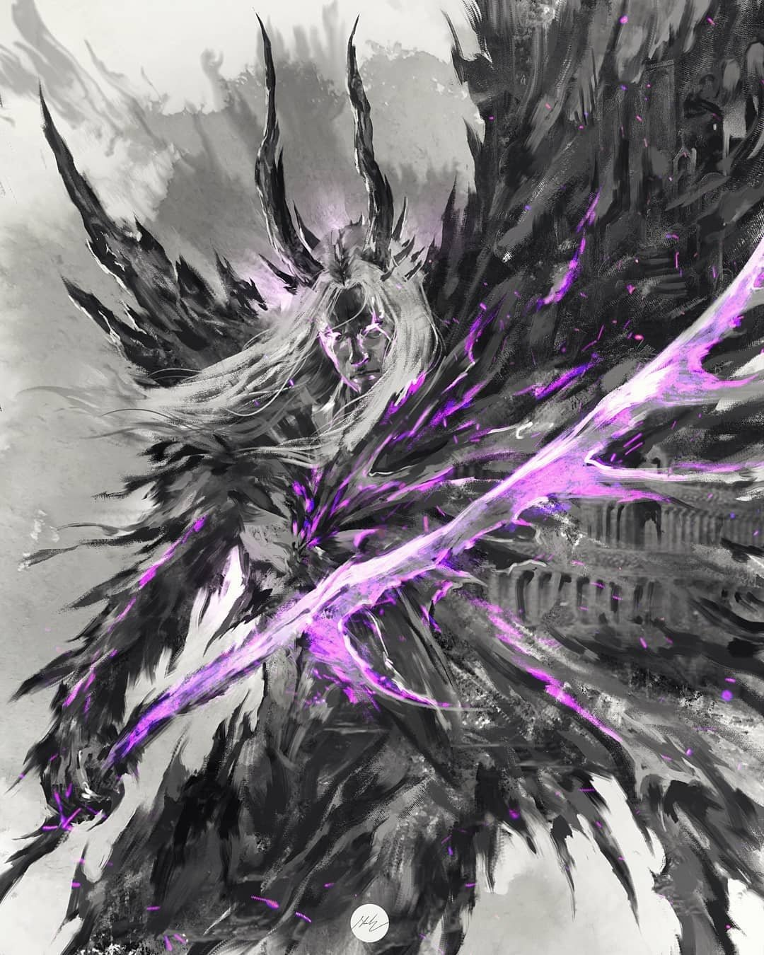 1boy closed_mouth dark_souls_i highres holding holding_sword holding_weapon horns long_hair looking_at_viewer male_focus monochrome purple_theme shimhaq solo souls_(series) sword the_four_kings weapon
