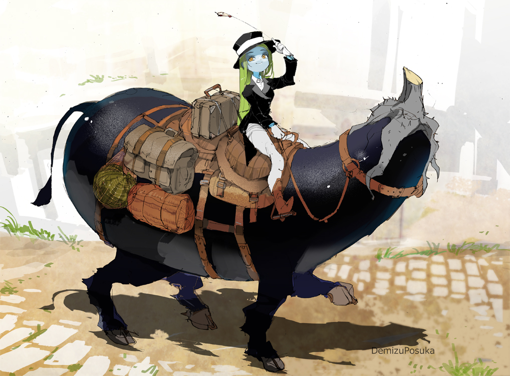 1girl 1other artist_name blue_skin colored_skin commentary_request demizu_posuka eggplant food formal fruit gloves green_hair hat horseback_riding luggage obon original riding shouryouuma top_hat watermelon