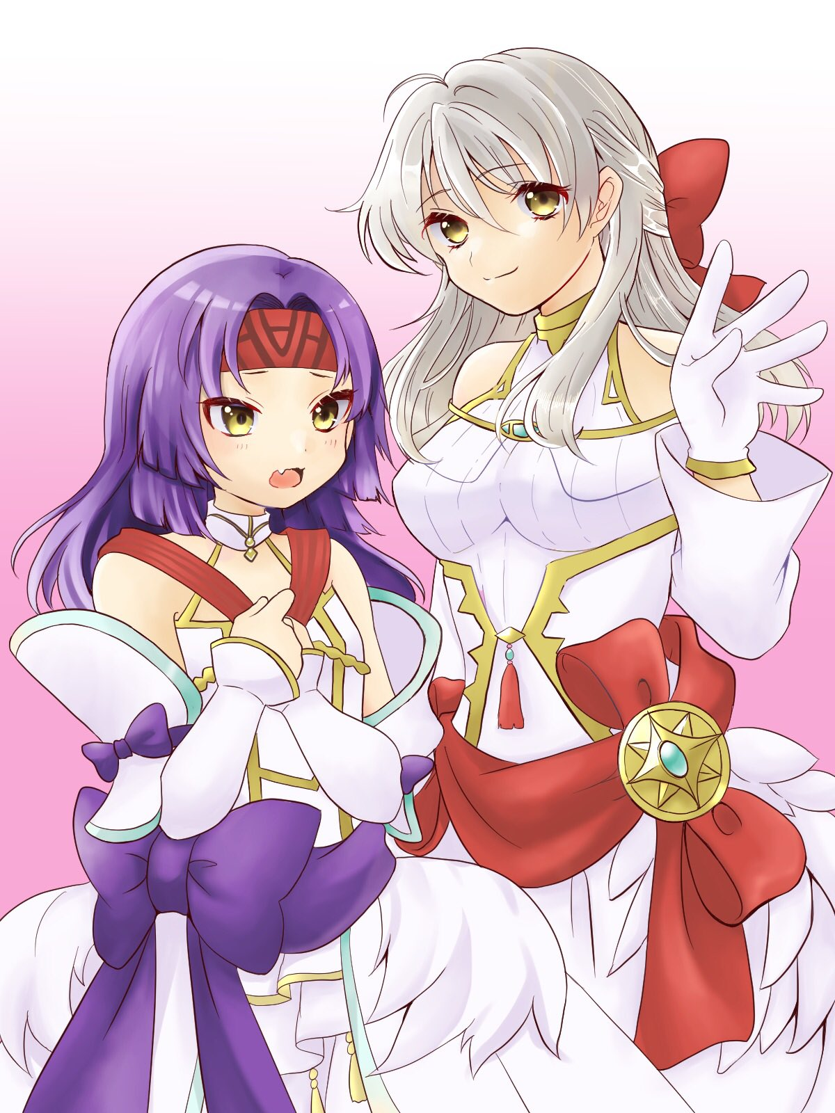 2girls alternate_costume bare_shoulders blue_scarf bow cowboy_shot detached_sleeves dress fang fire_emblem fire_emblem:_path_of_radiance fire_emblem:_radiant_dawn frills gau_fe gloves gradient gradient_background hair_bow half_updo headband highres long_hair long_sleeves looking_at_viewer micaiah_(fire_emblem) multiple_girls official_alternate_costume open_mouth pink_background purple_hair sanaki_kirsch_altina scarf silver_hair smile turtleneck wedding_dress white_background white_dress white_gloves yellow_eyes