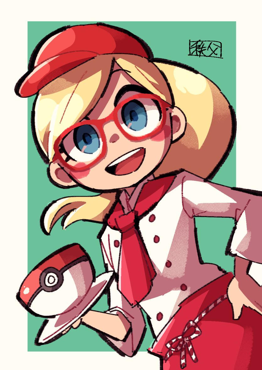 1girl :d apron blonde_hair blue_eyes blush_stickers border chichibu_(chichichibu) commentary_request cup glasses hat holding leah_(pokemon) long_hair open_mouth outside_border pokemon pokemon_cafe_mix ponytail red-framed_eyewear red_apron red_headwear saucer shirt sleeves_past_elbows smile solo tongue upper_teeth waist_apron white_border white_shirt